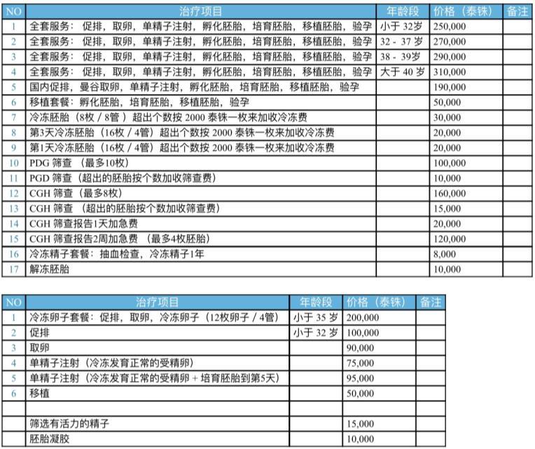 全球曼谷IV医疗费用清单